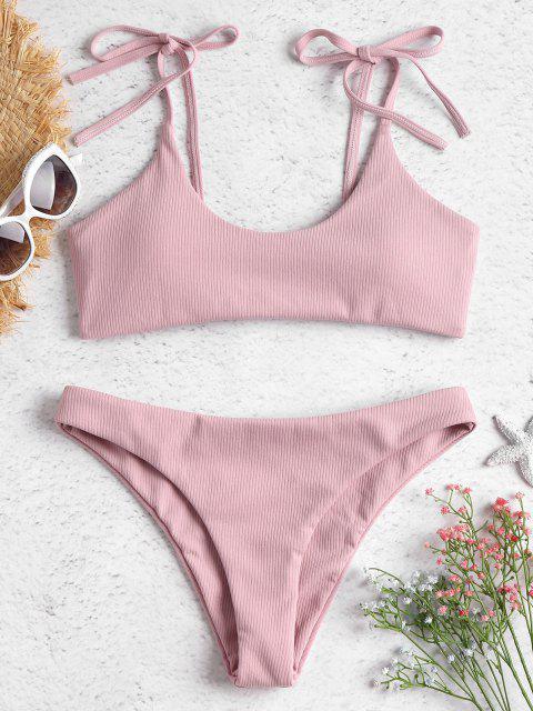 shop ZAFUL Tie Shoulders Ribbed Bikini - LIGHT PINK S Mobile