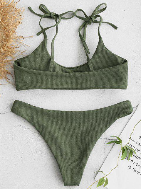 ZAFUL Bikini Acanalado con Hombros Acanalados - Verde Camuflaje L Mobile