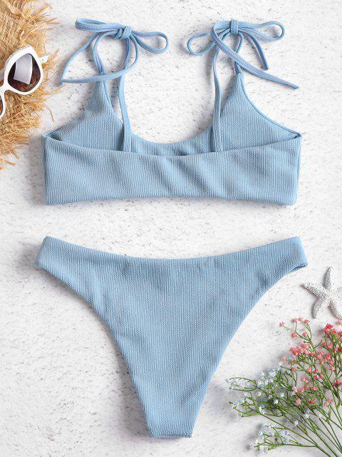 best ZAFUL Tie Shoulders Ribbed Bikini - JEANS BLUE S Mobile