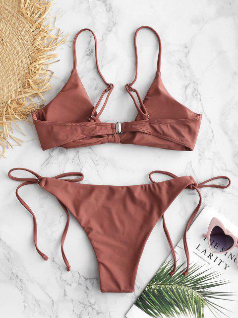 outfit ZAFUL Knotted String Bikini Set - LIPSTICK PINK S Mobile