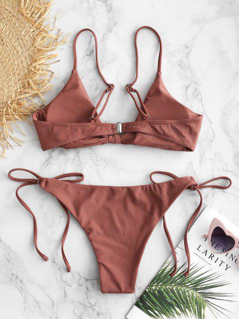 outfits ZAFUL Knotted String Bikini Set - LIPSTICK PINK M Mobile