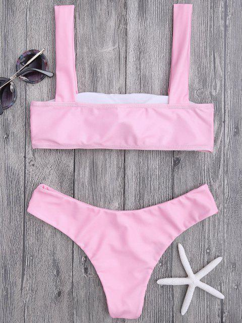 affordable Bandeau Padded Bikini Top and Bottoms - PINK L Mobile