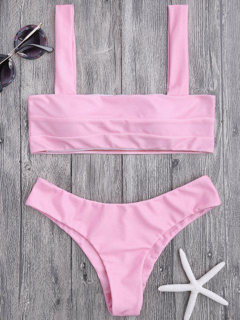 womens Bandeau Padded Bikini Top and Bottoms - PINK S Mobile