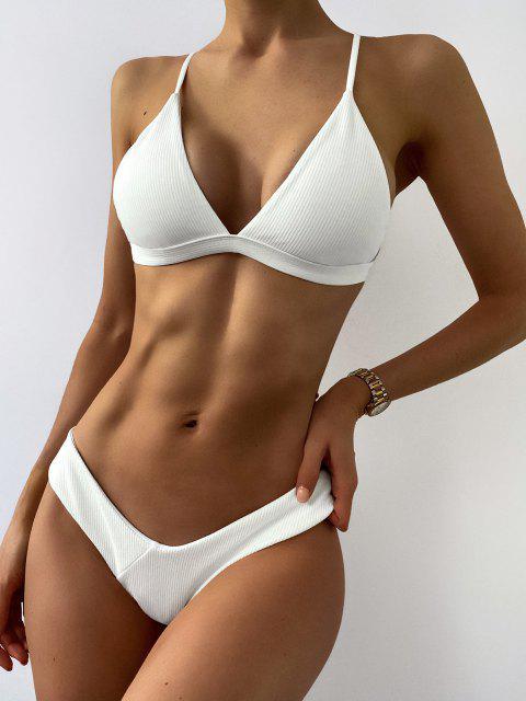best Plunge Padded Textured High Cut Bikini Set - WHITE M Mobile