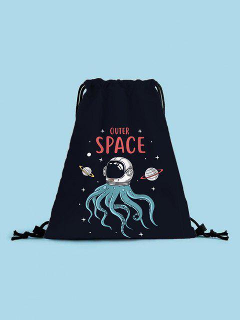 unique Outer Space Octopus Printed Cinch Bag - BLACK  Mobile