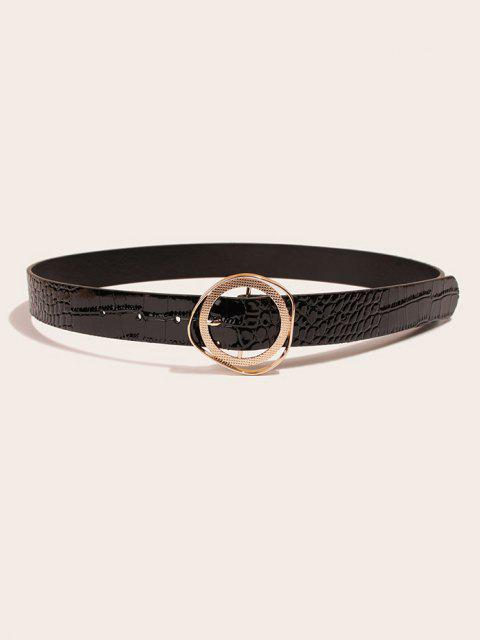latest Irregular Circle Buckle Textured Belt - BLACK  Mobile