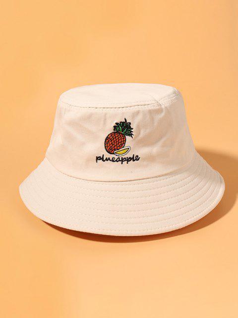 Cappello da Pescatore a Secchiello con Ricamo Ananas - Bianco caldo  Mobile