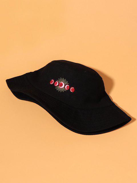 Sonne Mond Stickerei Bucket Hut - Schwarz  Mobile