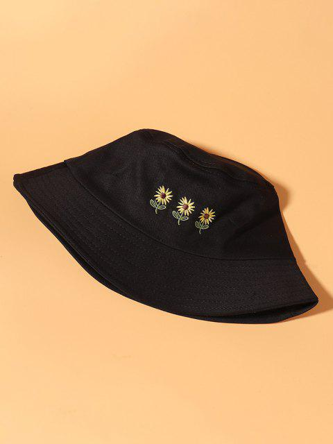 unique Embroidered Sunflowers Bucket Hat - BLACK  Mobile