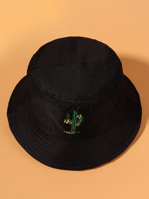 women's Cactus Flower Embroidered Bucket Hat - BLACK  Mobile