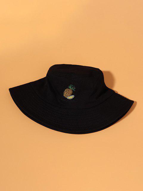 パイナップル刺繍バケット帽子 - ブラック  Mobile