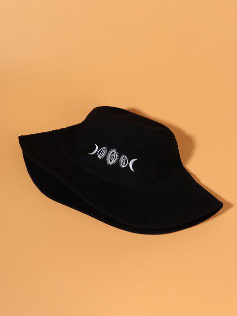 Chapeau Seau Motif de Lune Brodée - Noir  Mobile