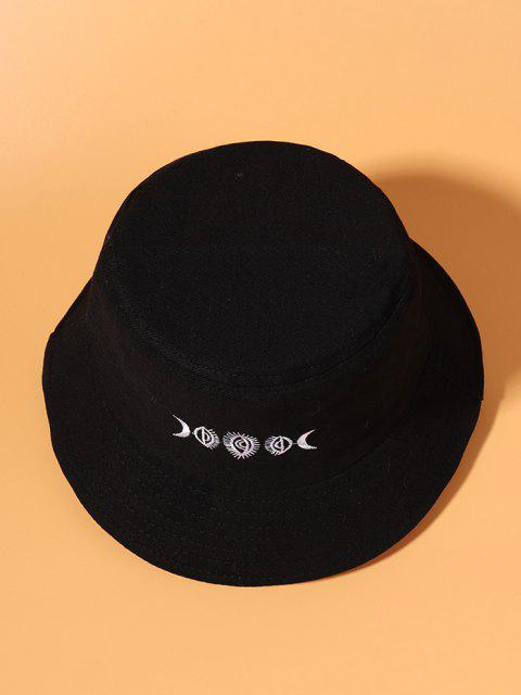 lady Moon Embroidered Pattern Bucket Hat - BLACK  Mobile