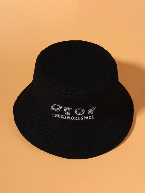 Planet Embroidery Bucket Hat - أسود  Mobile