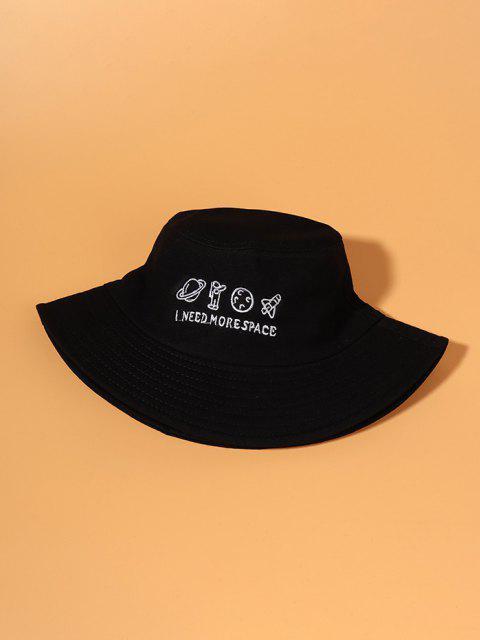 プラネット刺繍バケット帽子 - ブラック  Mobile