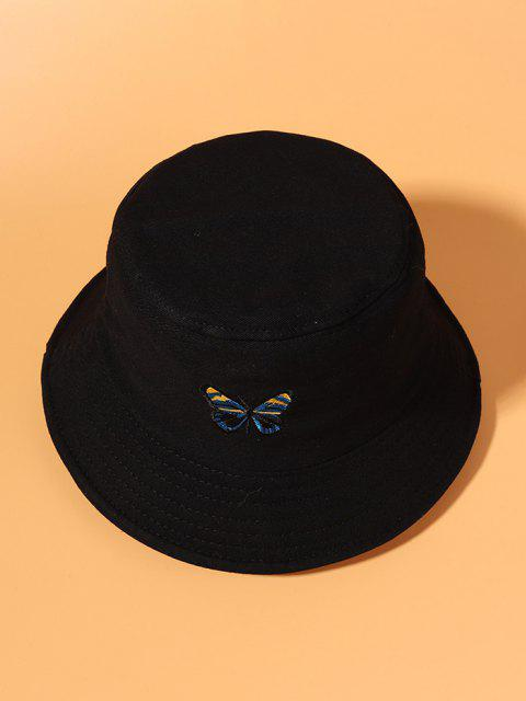 chic Butterfly Embroidered Bucket Hat - BLACK  Mobile