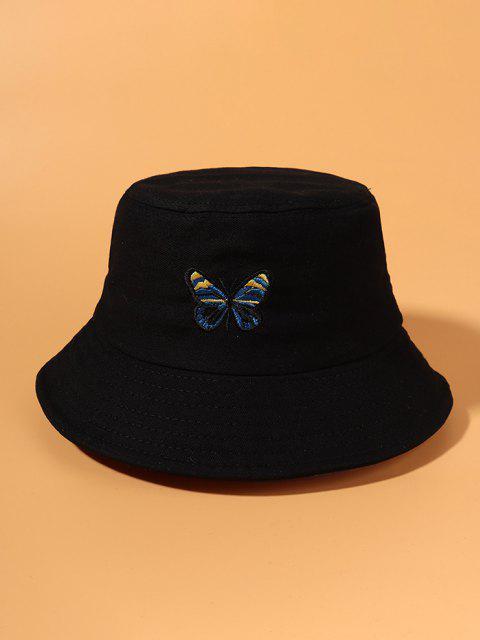 Chapeau Seau Papillon Brodé - Noir  Mobile