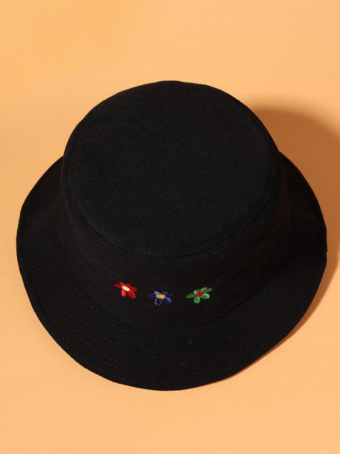 fancy Colored Flower Embroidered Bucket Hat - BLACK  Mobile