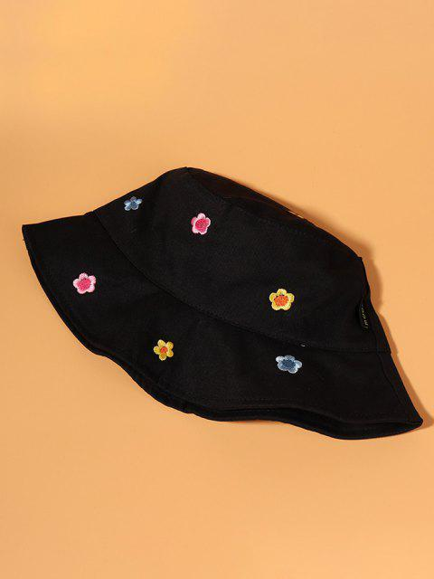 Blumen Gestickter Bucket Hut - Schwarz  Mobile
