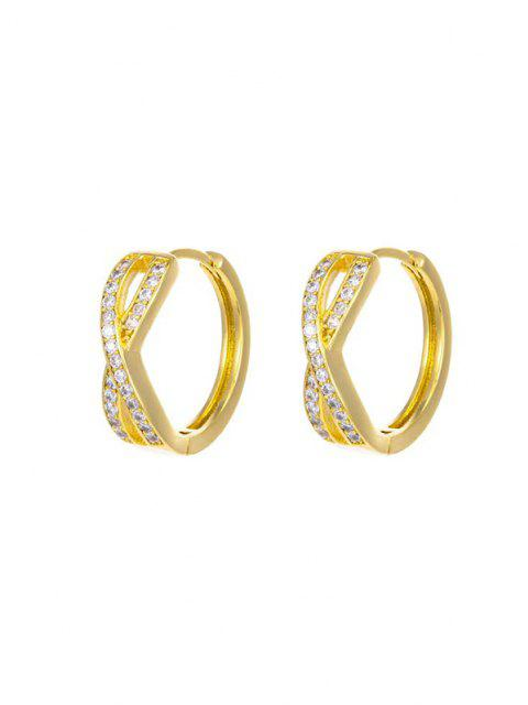 lady Golden Cross Zircon Pave Setting Stud Earrings - GOLDEN  Mobile