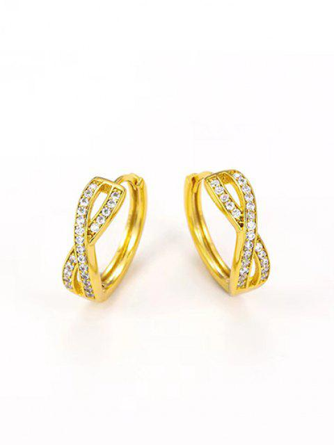 Golden Cross Zircon Pave Setting Stud Earrings - ذهبي  Mobile