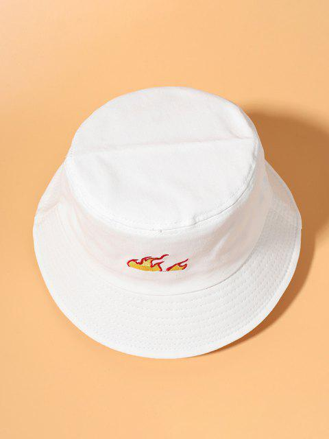 new Embroidered Flame Bucket Hat - WHITE  Mobile