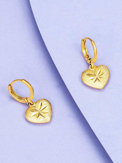 Pendientes en Forma de Corazón Grabado Dorado - dorado  Mobile