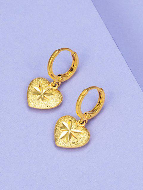 latest Golden Heart Engraved Gilded Huggie Earrings - GOLDEN  Mobile