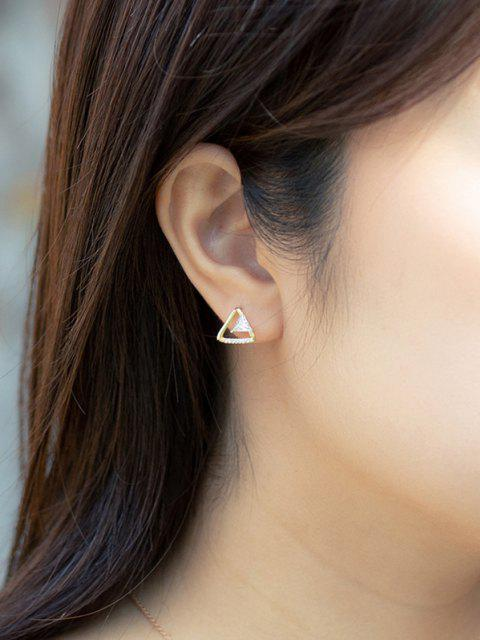 online Triangular Zircon Gilded Stud Earrings - GOLDEN  Mobile