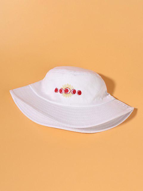 Cappello da Pescatore a Secchio con Ricamo Sole e Luna - Bianca  Mobile