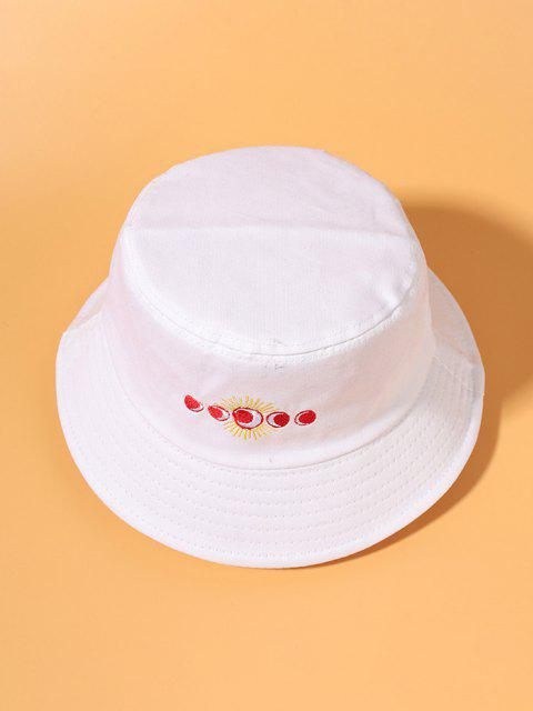 hot Sun Moon Embroidered Bucket Hat - WHITE  Mobile
