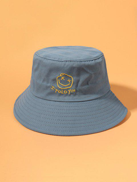 outfit Smile Face Embroidered Bucket Hat - LIGHT BLUE  Mobile