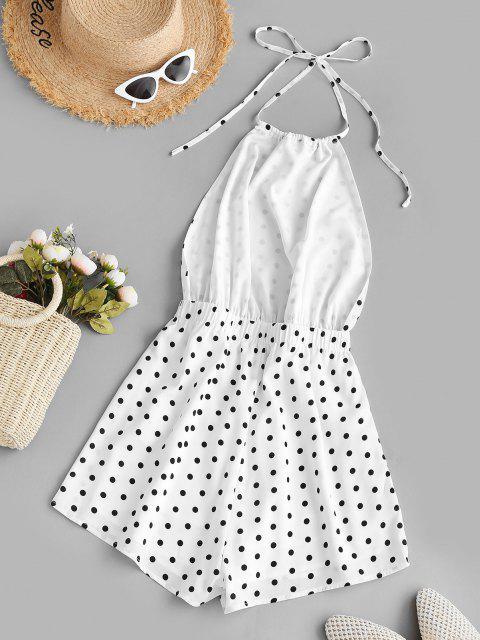 shop ZAFUL Backless Polka Dot Halter Romper - WHITE S Mobile