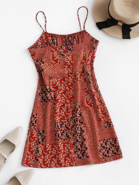 Winzige Blumen Patchwork Cami Kleid - Rot XL Mobile