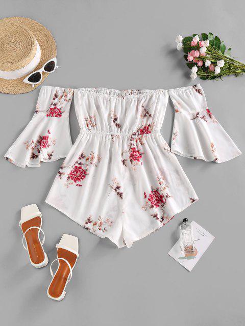 shops ZAFUL Flower Print Off Shoulder Flare Sleeve Romper - WHITE L Mobile