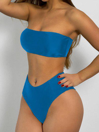 High Cut Bandeau Bathing Suit - Ocean Blue M