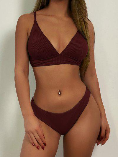 ZAFUL Ribbed Lace Up Cami Bikini Swimwear - Red Wine M