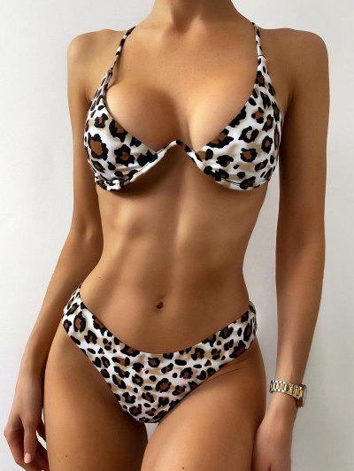 ZAFUL Leopard Snakeskin Underwire Bikini Set - Light Khaki S