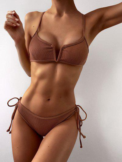 ZAFUL Ribbed V Wired Criss Cross Bikini Set - Light Brown S