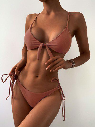 ZAFUL Ensemble De Bikini String Noué  - Rouge à Lèvres Rose M