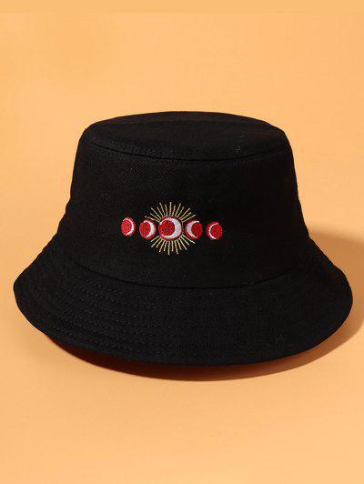 Sun Moon Embroidery Bucket Hat - Black