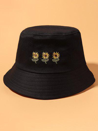 수 놓은 해바라기 양동이 모자 - 검정