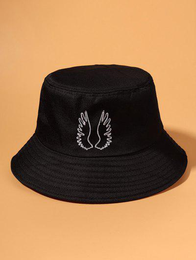 Embroidered Wing Pattern Bucket Hat - Black