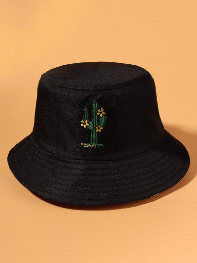 Cactus Flower Embroidered Bucket Hat - Black