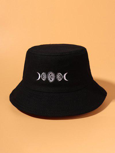 Moon Embroidered Pattern Bucket Hat - Black