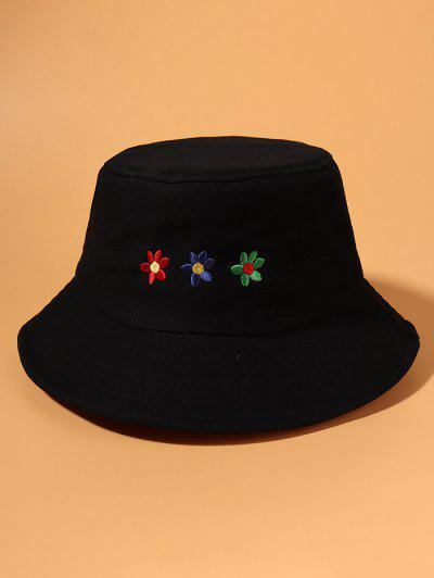 Colored Flower Embroidered Bucket Hat - Black