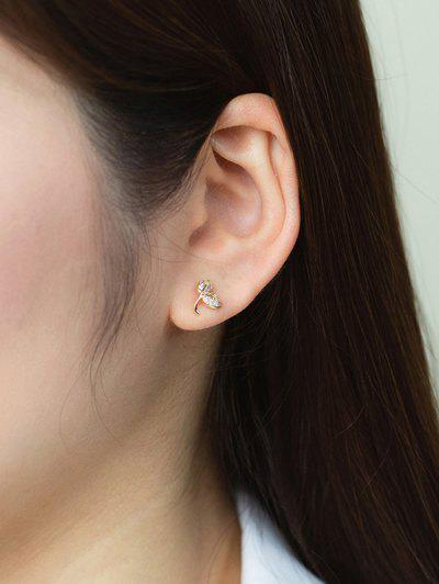 Golden Curved Leaf Rhinstone Stud Earrings - Golden