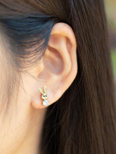 Golden Rabbit Zircon Plated Stud Earrings - Golden
