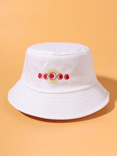 Sun Moon Embroidered Bucket Hat - White