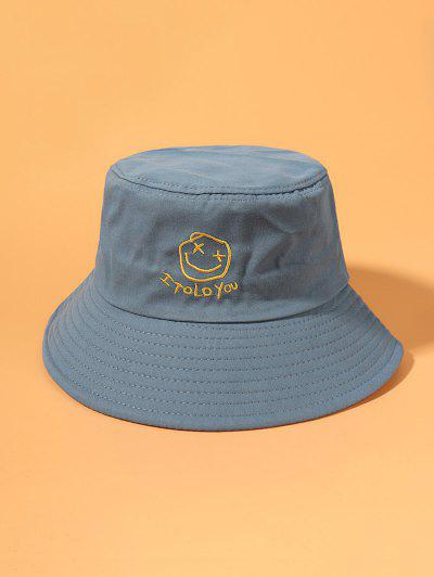 Smile Face Embroidered Bucket Hat - Light Blue